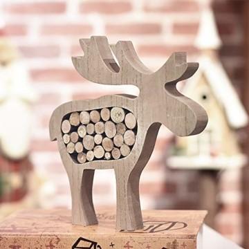 Valery Madelyn Holz Weihnachtsdekoration Rentier Weihnachtsdeko Figur 16/20cm 2er Set Hirsch Weihnachtsfigur mit Holzscheiben In den Wald Thema für Weihnachten MEHRWEG Verpackung - 7