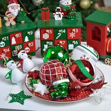 Valery Madelyn Weihnachtskugeln 60tlg Kunststoff Christbaumkugeln Baumschmuck zum Aufhängen Weihnahctsdeko bruchsicher Weihnachtsbaumschmuck für Tannenbaum Klassische Serie Thema Rot Grün Weiß - 2