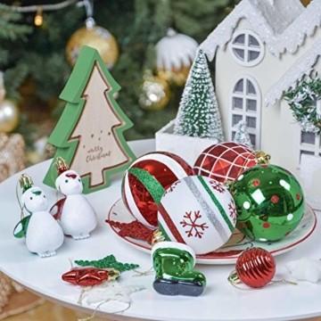 Valery Madelyn Weihnachtskugeln 60tlg Kunststoff Christbaumkugeln Baumschmuck zum Aufhängen Weihnahctsdeko bruchsicher Weihnachtsbaumschmuck für Tannenbaum Klassische Serie Thema Rot Grün Weiß - 3