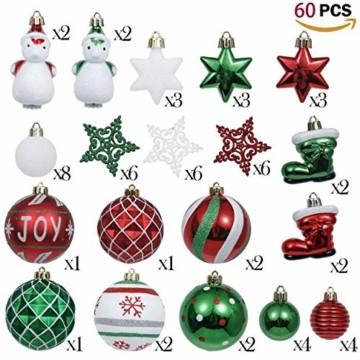 Valery Madelyn Weihnachtskugeln 60tlg Kunststoff Christbaumkugeln Baumschmuck zum Aufhängen Weihnahctsdeko bruchsicher Weihnachtsbaumschmuck für Tannenbaum Klassische Serie Thema Rot Grün Weiß - 4