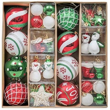 Valery Madelyn Weihnachtskugeln 60tlg Kunststoff Christbaumkugeln Baumschmuck zum Aufhängen Weihnahctsdeko bruchsicher Weihnachtsbaumschmuck für Tannenbaum Klassische Serie Thema Rot Grün Weiß - 1
