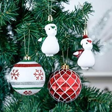 Valery Madelyn Weihnachtskugeln 60tlg Kunststoff Christbaumkugeln Baumschmuck zum Aufhängen Weihnahctsdeko bruchsicher Weihnachtsbaumschmuck für Tannenbaum Klassische Serie Thema Rot Grün Weiß - 6