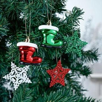 Valery Madelyn Weihnachtskugeln 60tlg Kunststoff Christbaumkugeln Baumschmuck zum Aufhängen Weihnahctsdeko bruchsicher Weihnachtsbaumschmuck für Tannenbaum Klassische Serie Thema Rot Grün Weiß - 7
