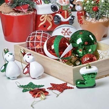 Valery Madelyn Weihnachtskugeln 60tlg Kunststoff Christbaumkugeln Baumschmuck zum Aufhängen Weihnahctsdeko bruchsicher Weihnachtsbaumschmuck für Tannenbaum Klassische Serie Thema Rot Grün Weiß - 8