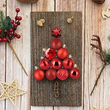 VDSOW Weihnachtskugeln 34, Rot Weihnachtsbaumkugeln Kunststoff Weihnachtsbaum Kugeln Deko für Weihnachtsbaumschmuck, Bruchsichere Christbaumkugeln Christbaumschmuck Weihnachtsdeko Weihnachten 4cm - 4