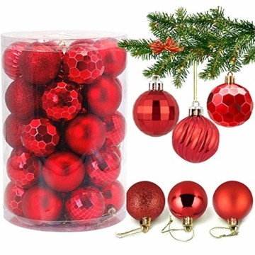 VDSOW Weihnachtskugeln 34, Rot Weihnachtsbaumkugeln Kunststoff Weihnachtsbaum Kugeln Deko für Weihnachtsbaumschmuck, Bruchsichere Christbaumkugeln Christbaumschmuck Weihnachtsdeko Weihnachten 4cm - 1