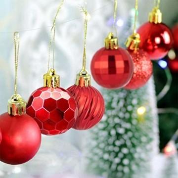 VDSOW Weihnachtskugeln 34, Rot Weihnachtsbaumkugeln Kunststoff Weihnachtsbaum Kugeln Deko für Weihnachtsbaumschmuck, Bruchsichere Christbaumkugeln Christbaumschmuck Weihnachtsdeko Weihnachten 4cm - 6