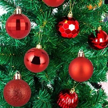 VDSOW Weihnachtskugeln 34, Rot Weihnachtsbaumkugeln Kunststoff Weihnachtsbaum Kugeln Deko für Weihnachtsbaumschmuck, Bruchsichere Christbaumkugeln Christbaumschmuck Weihnachtsdeko Weihnachten 4cm - 7