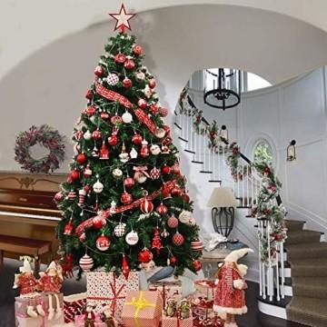 Victor's Workshop Weihnachtskugeln 100tlg. Plastik Christbaumkugeln Set Christbaumschmuck für Weihnachtsbaum Dekoration Weihnachtsdeko Partydeko Hausdeko Oh Hirsch Thema Rot Weiß - 5