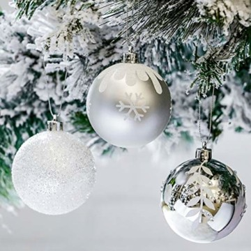 Victor's Workshop Weihnachtskugeln 16tlg. 8cm Plastik Christbaumkugeln Set Christbaumschmuck für Weihnachtsbaum Dekoration Weihnachtsdeko Hausdeko Gefrorener Winter Thema Silber Weiss - 4