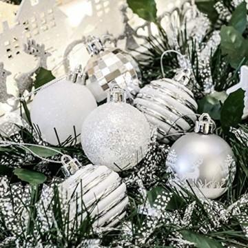 Victor's Workshop Weihnachtskugeln 35tlg. 5cm Plastik Christbaumkugeln Set, Weihnachtsbaumschmuck Dekoration Christbaumschmuck für Haus Dekoration Gefrorener Winter Thema Silber Weiss - 7