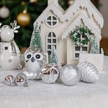 Victor's Workshop Weihnachtskugeln 90tlg. Christbaumkugeln Set, Plastik Christbaumschmuck für Weihnachtsbaum Dekoration Weihnachtsdeko Party Hausdeko Gefrorener Winter Thema Silber Weiss - 6
