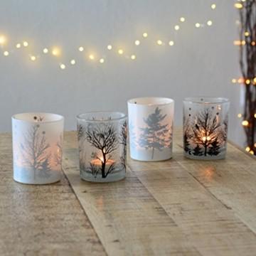 Vier große Teelichter aus Milchglas Windlicht candle Kerze Deko - 2