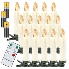 VINGO 40 Stück Weihnachten LED Kerzen mit Fernbedienung Kabellos Warmweiß Kerzen Timerfunktion mit Batterien Kerzenlichter Baumkerzen - 1
