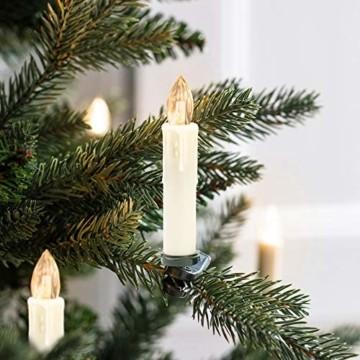 VINGO 40 Stück Weihnachten LED Kerzen mit Fernbedienung Kabellos Warmweiß Kerzen Timerfunktion mit Batterien Kerzenlichter Baumkerzen - 4