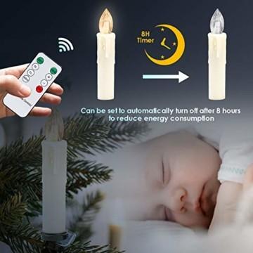 VINGO 40 Stück Weihnachten LED Kerzen mit Fernbedienung Kabellos Warmweiß Kerzen Timerfunktion mit Batterien Kerzenlichter Baumkerzen - 5