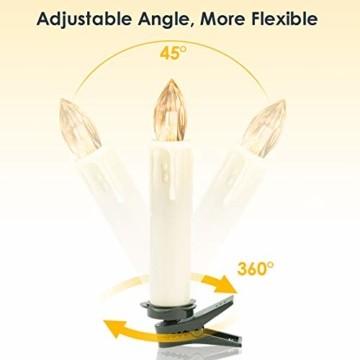 VINGO 40 Stück Weihnachten LED Kerzen mit Fernbedienung Kabellos Warmweiß Kerzen Timerfunktion mit Batterien Kerzenlichter Baumkerzen - 6