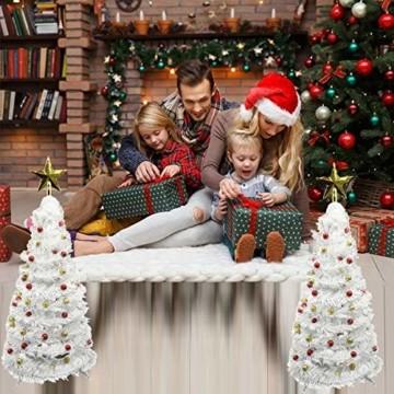 Vohoney Künstliche Weihnachtsbäume 58CM Mini Künstlicher Weihnachtsbaum Christbaum Baum Christmas Tree für Weihnachtsdekoration Zuhause und im Büro (Weiss Künstliche Weihnachtsbäume, 58CM) - 2