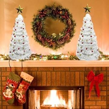 Vohoney Künstliche Weihnachtsbäume 58CM Mini Künstlicher Weihnachtsbaum Christbaum Baum Christmas Tree für Weihnachtsdekoration Zuhause und im Büro (Weiss Künstliche Weihnachtsbäume, 58CM) - 4