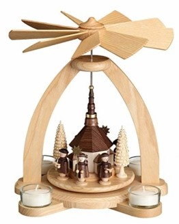 Volkskunstwerkstatt Unger Tischpyramide - Teelichtpyramide mit Seiffener Kirche - Echt Erzgebirge® 1810 - 1