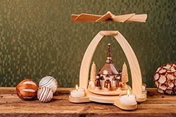 Volkskunstwerkstatt Unger Tischpyramide - Teelichtpyramide mit Seiffener Kirche - Echt Erzgebirge® 1810 - 4