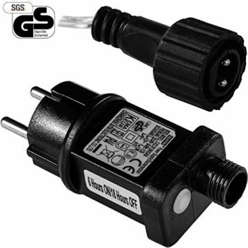 VOLTRONIC 50 100 200 LED Lichterdraht Lichterkette, GS geprüft, mit Timer, für innen und außen, IP44, erhältlich in: warmweiß kaltweiß bunt warmweiß+kaltweiß, Outdoor - 4