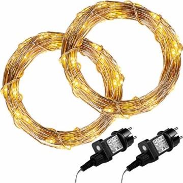VOLTRONIC 50 100 200 LED Lichterdraht Lichterkette, GS geprüft, mit Timer, für innen und außen, IP44, erhältlich in: warmweiß kaltweiß bunt warmweiß+kaltweiß, Outdoor - 1