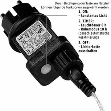 VOLTRONIC 50 100 200 LED Lichterdraht Lichterkette, GS geprüft, mit Timer, für innen und außen, IP44, erhältlich in: warmweiß kaltweiß bunt warmweiß+kaltweiß, Outdoor - 7