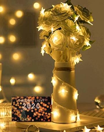 VTARCZA 40 LED Sternlichterkette Dekorative Lichterkette Feier Beleuchtung Weihnachtsdekoration Sterne Hängende Lichter Lichtervorhang Lichter für Gärten, Weihnachtsbäume, Wohnzimmer, 5M Warmweiße - 2