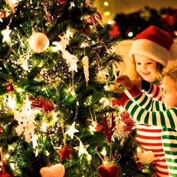 VTARCZA 40 LED Sternlichterkette Dekorative Lichterkette Feier Beleuchtung Weihnachtsdekoration Sterne Hängende Lichter Lichtervorhang Lichter für Gärten, Weihnachtsbäume, Wohnzimmer, 5M Warmweiße - 3