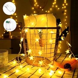 VTARCZA 40 LED Sternlichterkette Dekorative Lichterkette Feier Beleuchtung Weihnachtsdekoration Sterne Hängende Lichter Lichtervorhang Lichter für Gärten, Weihnachtsbäume, Wohnzimmer, 5M Warmweiße - 1