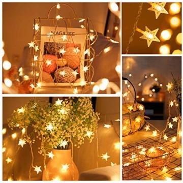 VTARCZA 40 LED Sternlichterkette Dekorative Lichterkette Feier Beleuchtung Weihnachtsdekoration Sterne Hängende Lichter Lichtervorhang Lichter für Gärten, Weihnachtsbäume, Wohnzimmer, 5M Warmweiße - 4