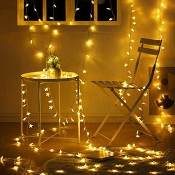 VTARCZA 40 LED Sternlichterkette Dekorative Lichterkette Feier Beleuchtung Weihnachtsdekoration Sterne Hängende Lichter Lichtervorhang Lichter für Gärten, Weihnachtsbäume, Wohnzimmer, 5M Warmweiße - 5