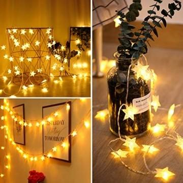 VTARCZA 40 LED Sternlichterkette Dekorative Lichterkette Feier Beleuchtung Weihnachtsdekoration Sterne Hängende Lichter Lichtervorhang Lichter für Gärten, Weihnachtsbäume, Wohnzimmer, 5M Warmweiße - 6