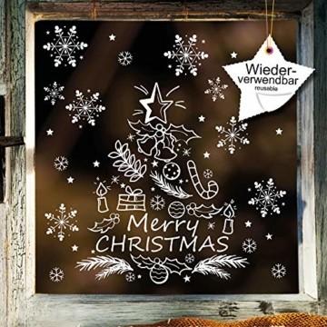 Wandtattoo-Loft Fenstersticker Tannenbaum Merry Christmas mit Schneeflocken WIEDERVERWENDBAR - 3