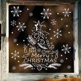 Wandtattoo-Loft Fenstersticker Tannenbaum Merry Christmas mit Schneeflocken WIEDERVERWENDBAR - 1