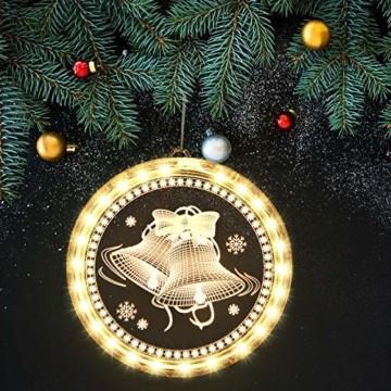Weihnachten Dekorative Fenster Licht, Hintergrund Lichterketten für Outdoor Indoor Fenster Weg Terrasse Schlafzimmer Party Ferien Wand, Warmweiß (Glocke) - 4