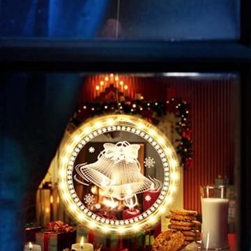 Weihnachten Dekorative Fenster Licht, Hintergrund Lichterketten für Outdoor Indoor Fenster Weg Terrasse Schlafzimmer Party Ferien Wand, Warmweiß (Glocke) - 7