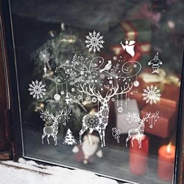 Weihnachten Fensterbilder, Fensterdeko Fensteraufkleber, Weihnachts Dekoration - DIY Schneeflocken Deko Weihnachtsmann Fensteraufkleber, Fensterfolie Selbsthaftend für Kinderzimmer und Vitrinen - 2
