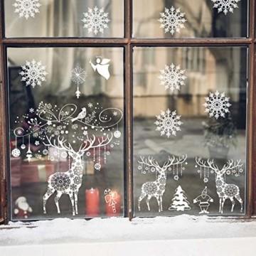 Weihnachten Fensterbilder, Fensterdeko Fensteraufkleber, Weihnachts Dekoration - DIY Schneeflocken Deko Weihnachtsmann Fensteraufkleber, Fensterfolie Selbsthaftend für Kinderzimmer und Vitrinen - 3