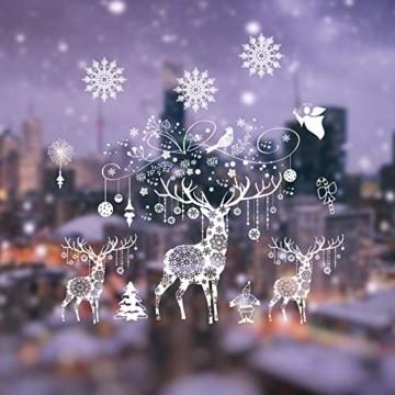 Weihnachten Fensterbilder, Fensterdeko Fensteraufkleber, Weihnachts Dekoration - DIY Schneeflocken Deko Weihnachtsmann Fensteraufkleber, Fensterfolie Selbsthaftend für Kinderzimmer und Vitrinen - 1