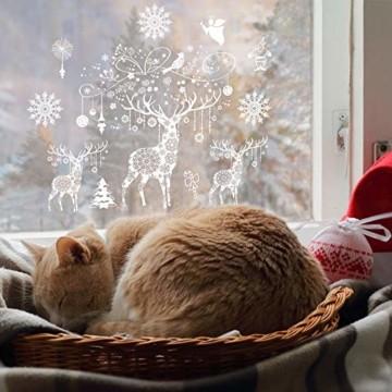 Weihnachten Fensterbilder, Fensterdeko Fensteraufkleber, Weihnachts Dekoration - DIY Schneeflocken Deko Weihnachtsmann Fensteraufkleber, Fensterfolie Selbsthaftend für Kinderzimmer und Vitrinen - 5