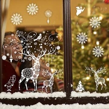 Weihnachten Fensterbilder, Fensterdeko Fensteraufkleber, Weihnachts Dekoration - DIY Schneeflocken Deko Weihnachtsmann Fensteraufkleber, Fensterfolie Selbsthaftend für Kinderzimmer und Vitrinen - 6