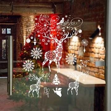 Weihnachten Fensterbilder, Fensterdeko Fensteraufkleber, Weihnachts Dekoration - DIY Schneeflocken Deko Weihnachtsmann Fensteraufkleber, Fensterfolie Selbsthaftend für Kinderzimmer und Vitrinen - 7