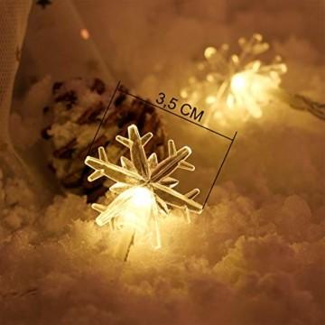 Weihnachten Lichterkette LED Schneeflocke Lichterkette Batterie 6M 40LED Warmweiß Lichterkette mit Fernbedienung 8 Modi Wasserdicht Außen Innen Lichterketten für Zimmer Party Garten DIY Deko Metaku - 2