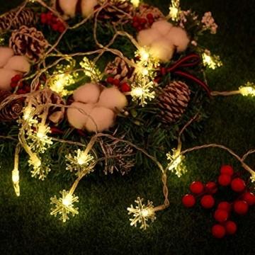 Weihnachten Lichterkette LED Schneeflocke Lichterkette Batterie 6M 40LED Warmweiß Lichterkette mit Fernbedienung 8 Modi Wasserdicht Außen Innen Lichterketten für Zimmer Party Garten DIY Deko Metaku - 3