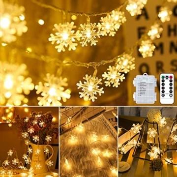 Weihnachten Lichterkette LED Schneeflocke Lichterkette Batterie 6M 40LED Warmweiß Lichterkette mit Fernbedienung 8 Modi Wasserdicht Außen Innen Lichterketten für Zimmer Party Garten DIY Deko Metaku - 1