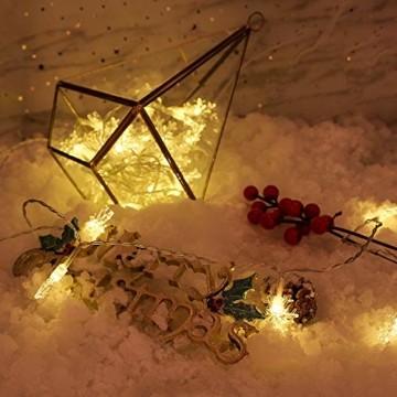 Weihnachten Lichterkette LED Schneeflocke Lichterkette Batterie 6M 40LED Warmweiß Lichterkette mit Fernbedienung 8 Modi Wasserdicht Außen Innen Lichterketten für Zimmer Party Garten DIY Deko Metaku - 5