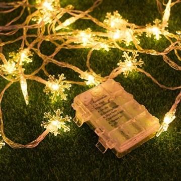 Weihnachten Lichterkette LED Schneeflocke Lichterkette Batterie 6M 40LED Warmweiß Lichterkette mit Fernbedienung 8 Modi Wasserdicht Außen Innen Lichterketten für Zimmer Party Garten DIY Deko Metaku - 7