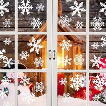 Weihnachts Schneeflocken Fensterbild Abnehmbare Fensterdeko Statisch Haftende PVC Aufkleber Winter Dekoration für Türen,Schaufenster, Vitrinen, Glasfronten - 7